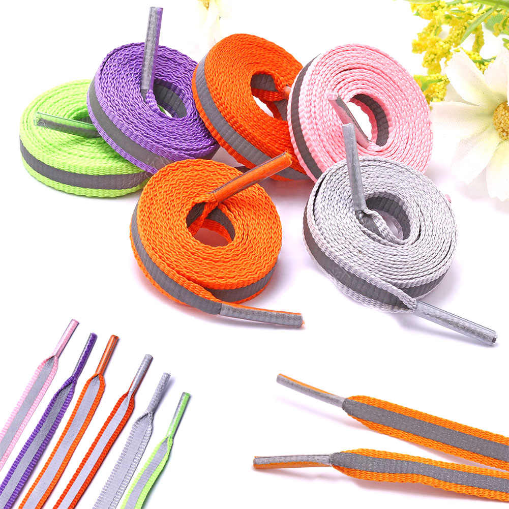 Hot Reflective Shoelace 8mm Wide Shoelaces Sneakers Colorful Filament Spot Shoe Lace Outdoor Safety Striped Shoes Laces 80-120cm