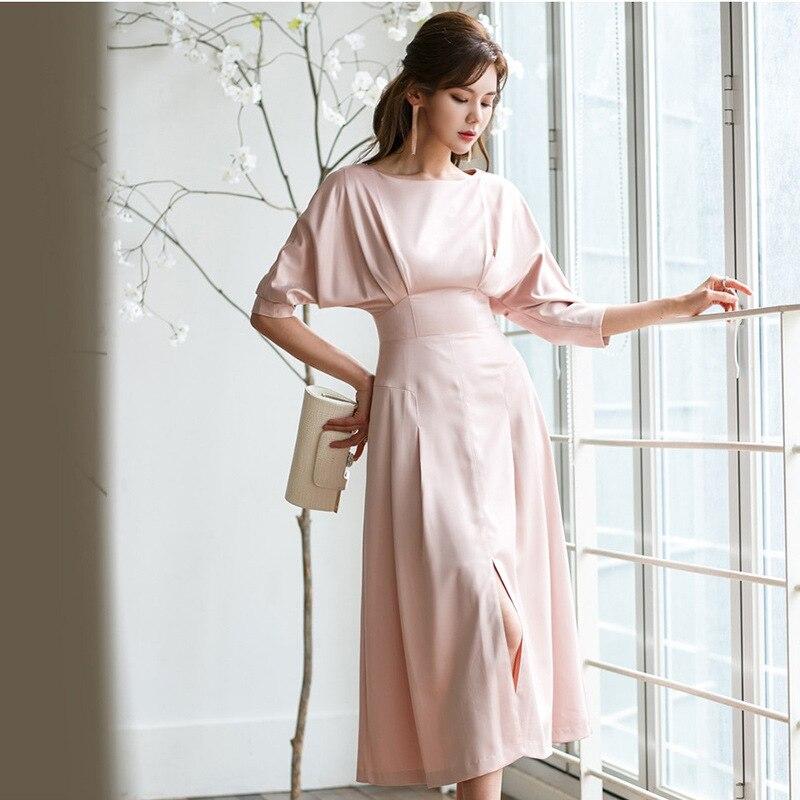 Women Half Batwing Sleeve Split Casual Long Dress Solid Modis Streetwear Bodycon Big Swing Pink Autumn