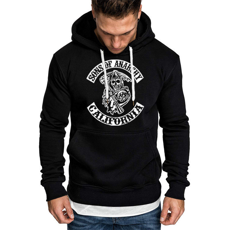 SOA Sons Of Anarchy The Child Fashion Skull Print Men Sportswear Hoodies Male Casual Sweatshirt Winter Fleece Hip Hop Warm Hoody