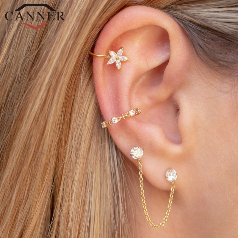 1 pair of 925 Sterling Silver Snowflake Ear Cuff Without Piercing Clip Earrings for Women Crystal Zircon Clip on Earrings(China)