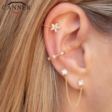 цена на 1 pair of 925 Sterling Silver Snowflake Ear Cuff Without Piercing Clip Earrings for Women Crystal Zircon Clip on Earrings