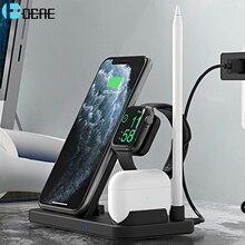 Dcae 4 em 1 carregador sem fio qi 10w suporte de carregamento rápido para o iphone 12 11 x xs xr xs max 8 para apple watch 6 5 4 3 2 airpods pro