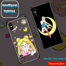 Sailor Moon à induction Intelligente Illuminé Couverture de téléphone étui pour iphone 6 S 7plus 8plus XR 10 X XS 11 Pro MAX Paillettes Cas(China)