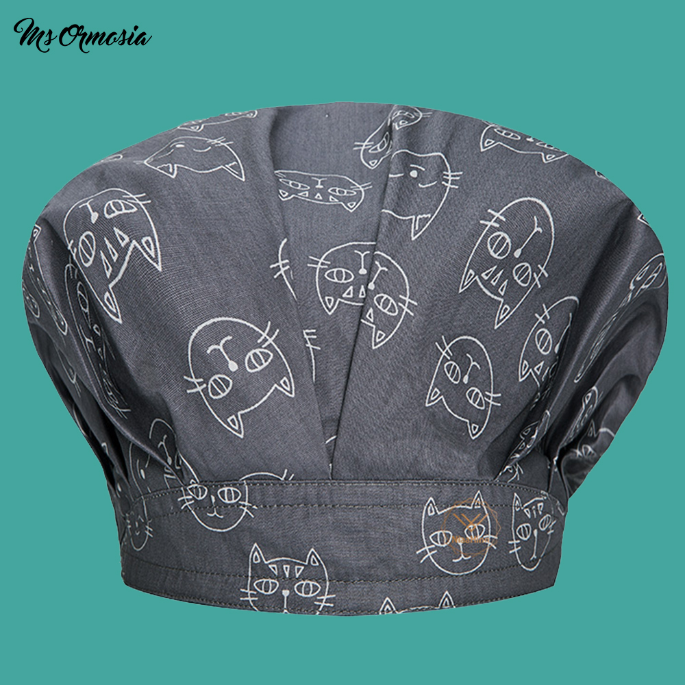 High Quality Gray Cat Printing Men And Women 100% Cotton Home Care Caps Beauty Hospital Nurse Cap Pharmacy Doctors Cap Hair Hat