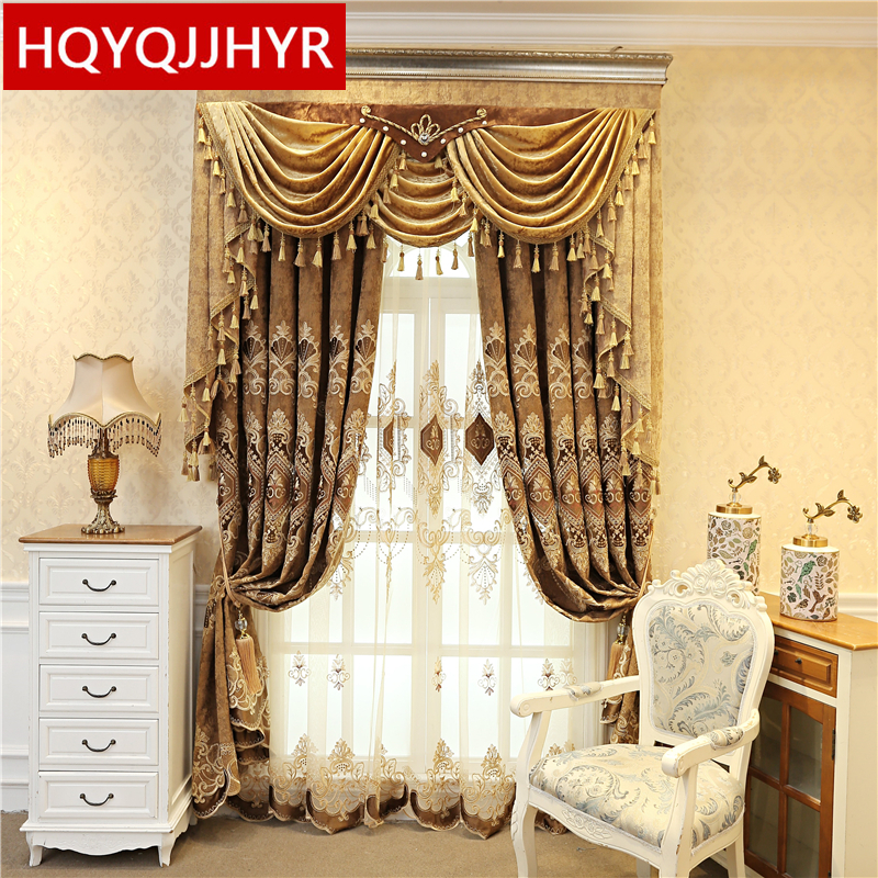 European style luxury villa embroidered curtains for bedroom window high quality elegant brown Blackout curtains for living room