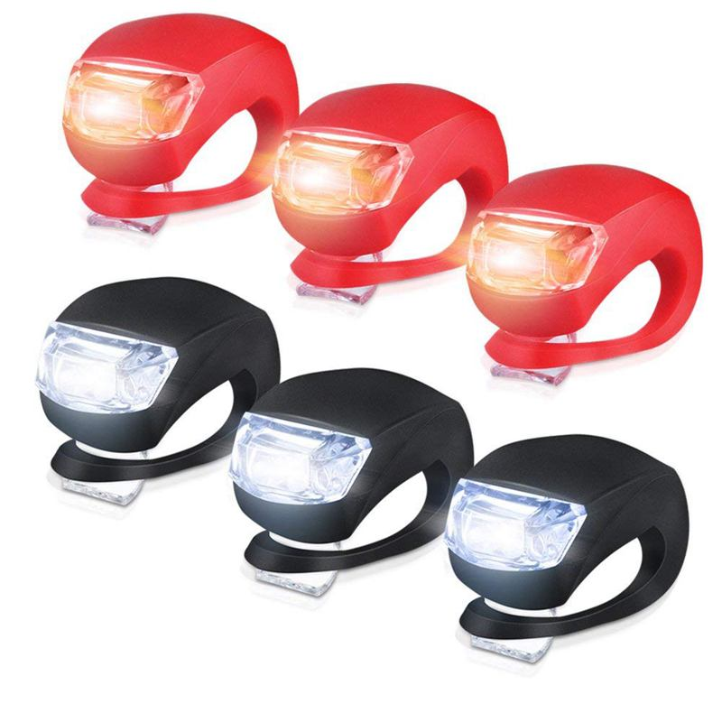 Silicone <font><b>Light</b></font> <font><b>Bike</b></font> Lamp, 6 pcs LED <font><b>Bike</b></font> <font><b>Light</b></font> Set (3x LED <font><b>White</b></font> & 3x LED <font><b>red</b></font> <font><b>light</b></font>) Flashlight Flashlight for Mountainbikes Cam image