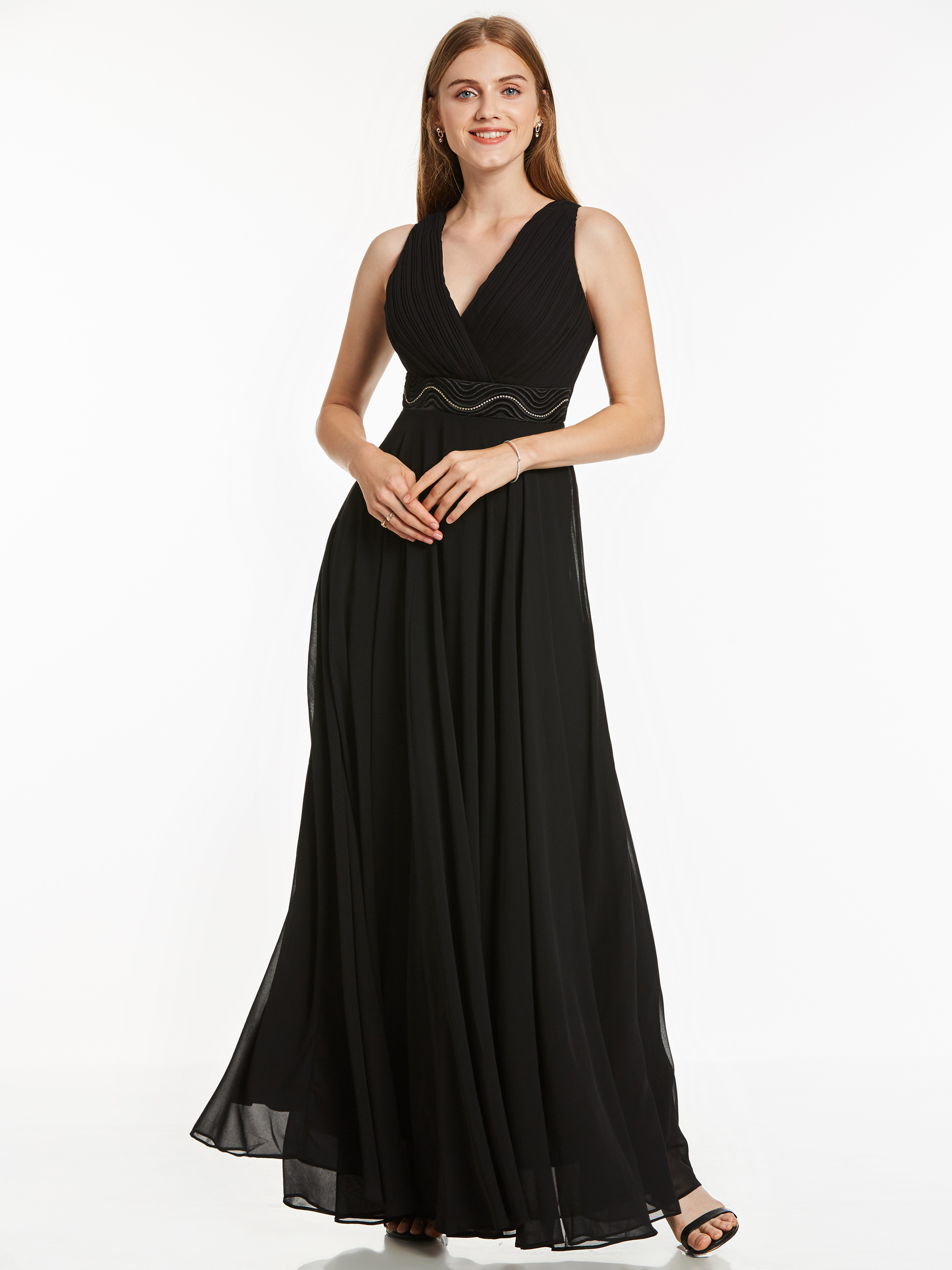 Dressv Black Long Evening Dress Cheap Short Sleeves V Neck A Line Beading Ruched Wedding Party Formal Dress Evening Dresses
