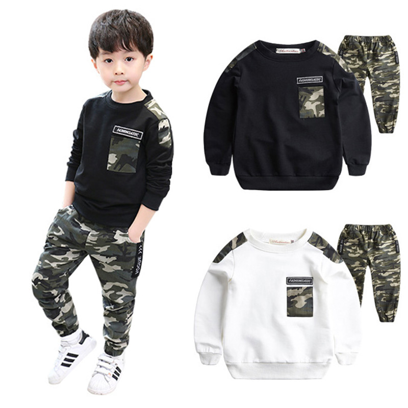 Cotton Boy Clothes Autumn Camouflage Pattern Long Sleeve Casual T-shirt Tops Pants Outfits Set9