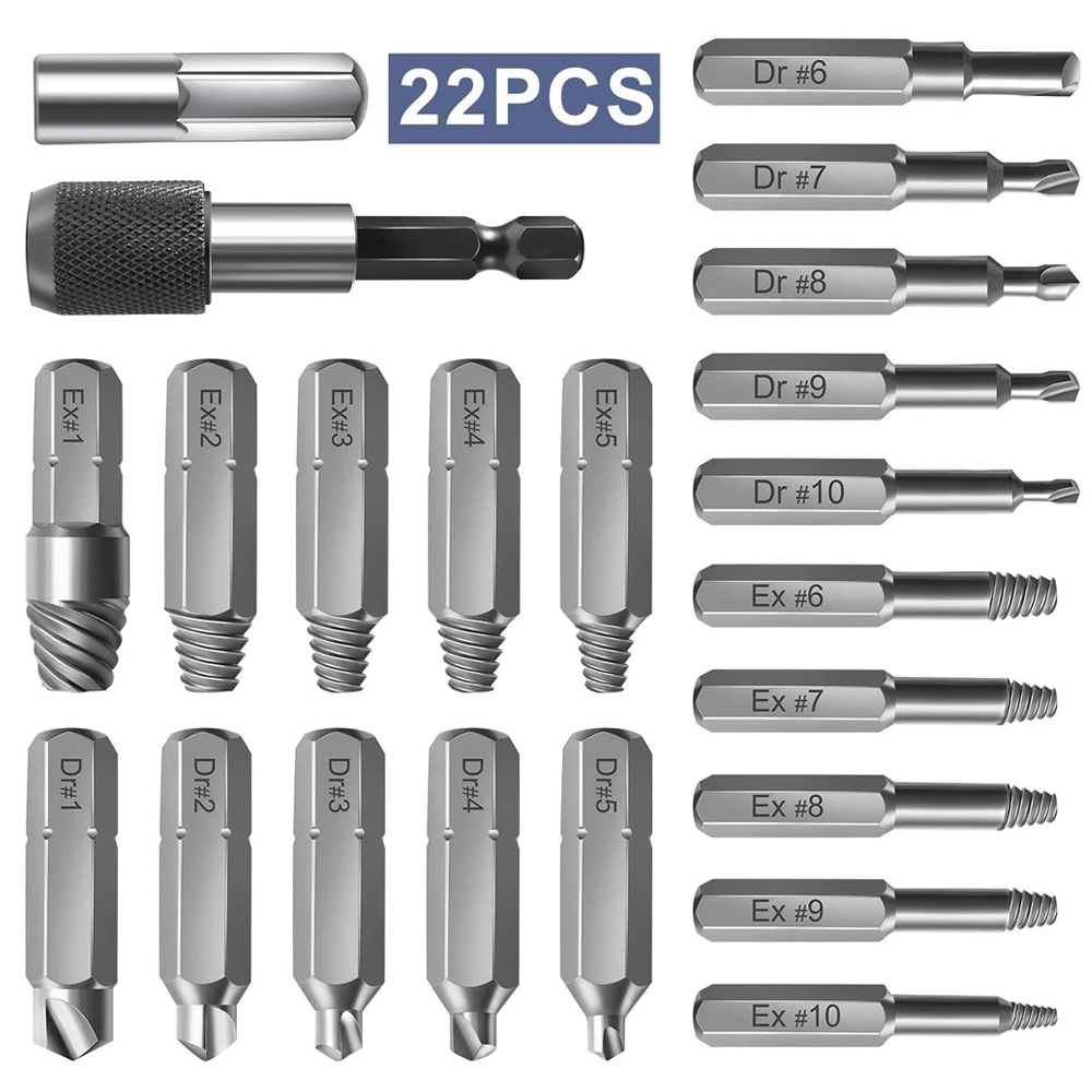 22 Pcs Damage Screw Bolt Remover Set With Extension Bit Holder And Socket Adapter