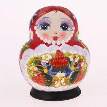 10 stück Holz Babuschka Russische Puppe Hand Gemalt Bunte Blume