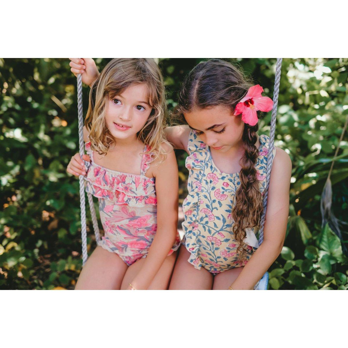 Kids Baby Girls Ruffles Floral Print One Piece Swimwear Juesi Swimsuit for Girls