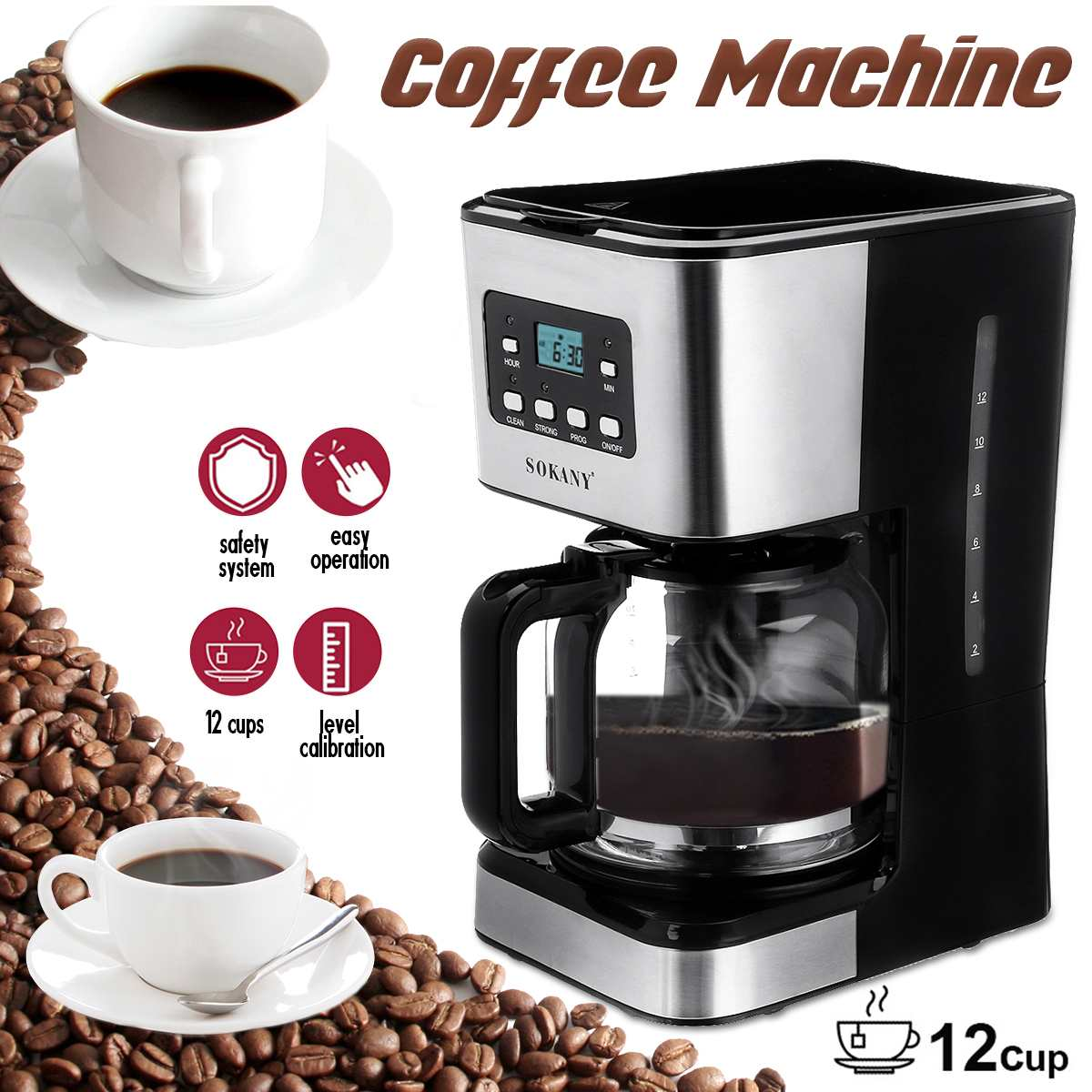 Coffee Machine 12 Cups Semi-Automatic Steam Coffee Maker 220V Detachable Washable Coffeemaker For Espresso Cappuccino Latte