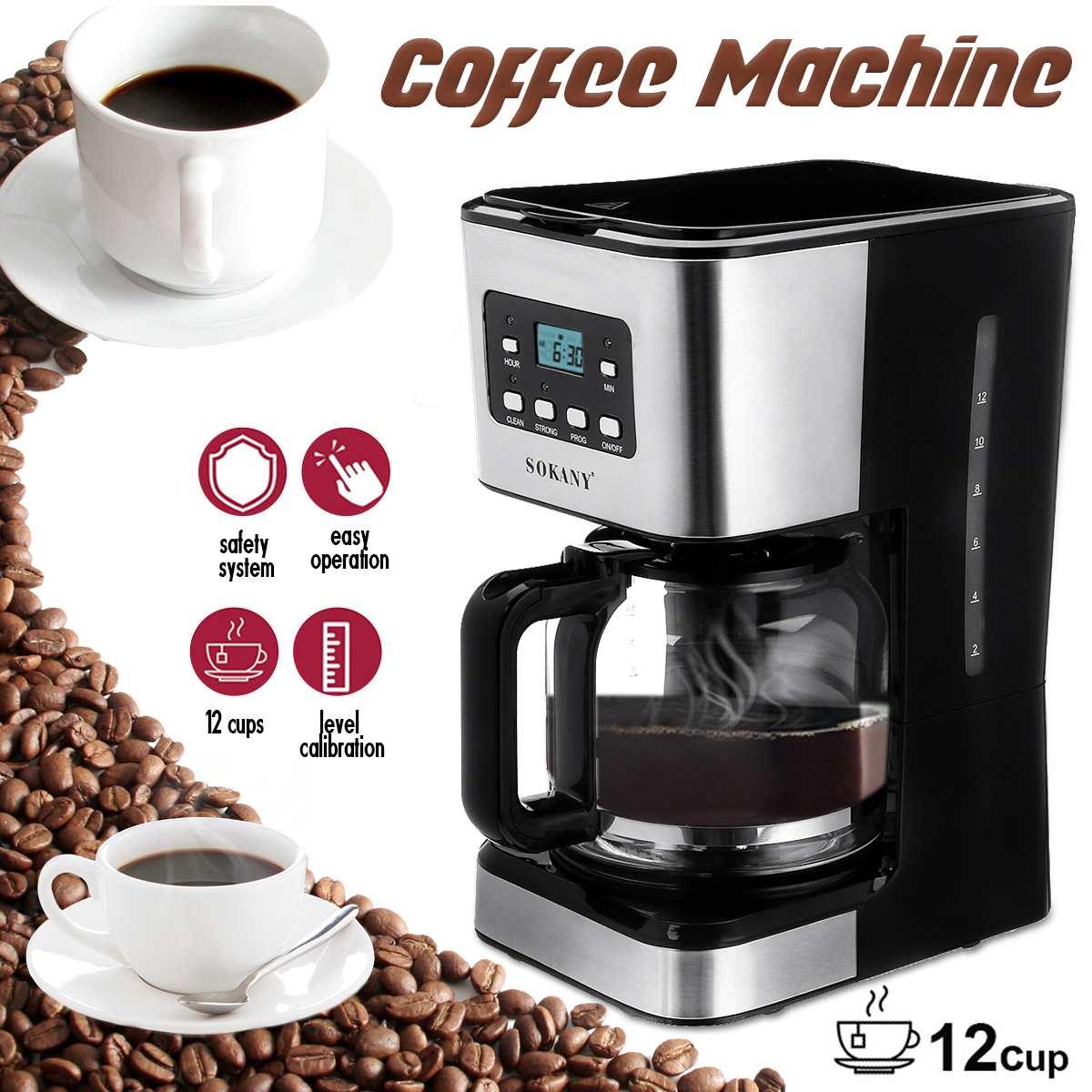 Coffee Machine 12 Cups Semi-Automatic Steam Coffee Maker 220V Detachable Washable Coffeemaker For Espresso Cappuccino Latte