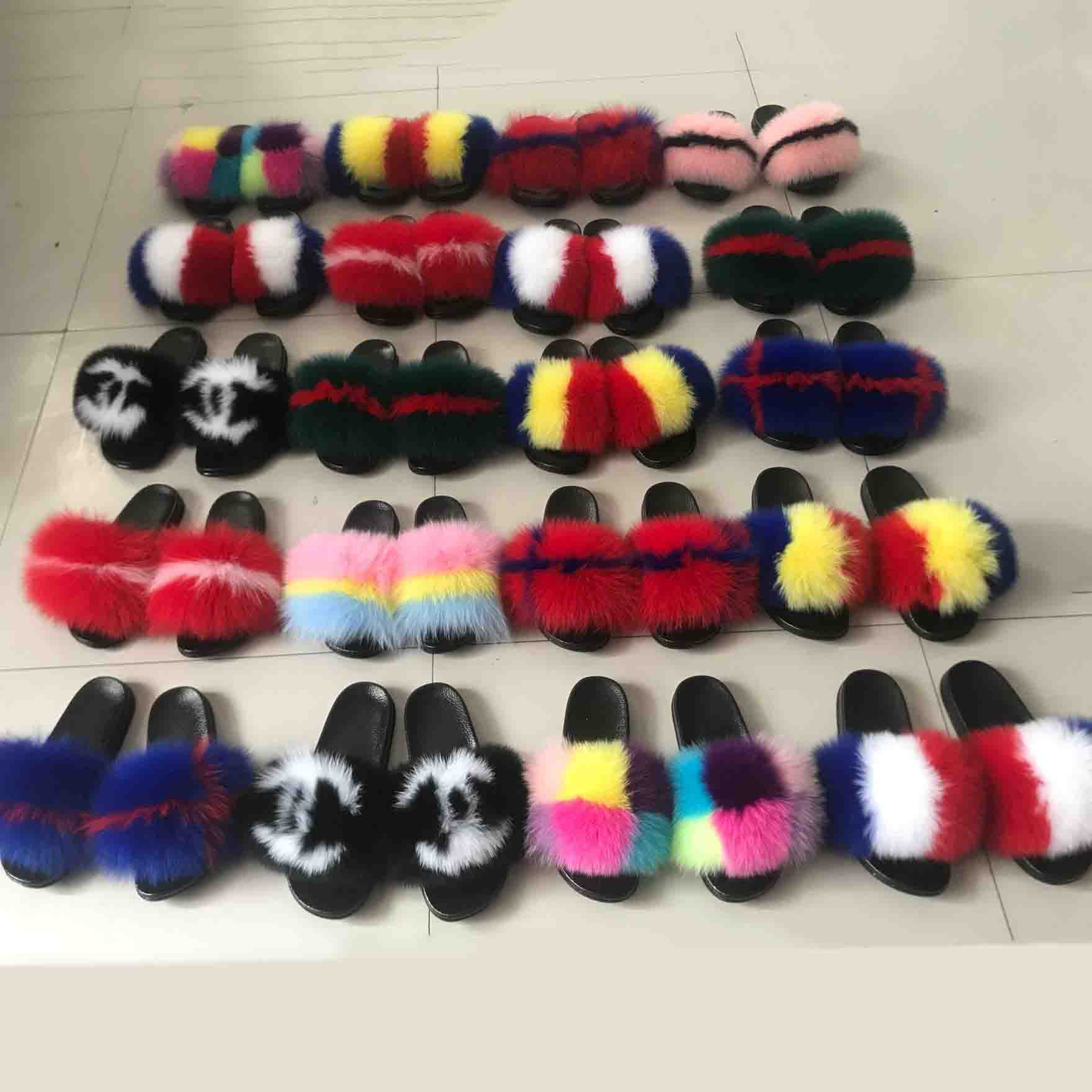 100% real fox fur slippers female fur slippers rainbow shoes cute fur flip flops women travel furry shoes L 085#|Slippers| - AliExpress