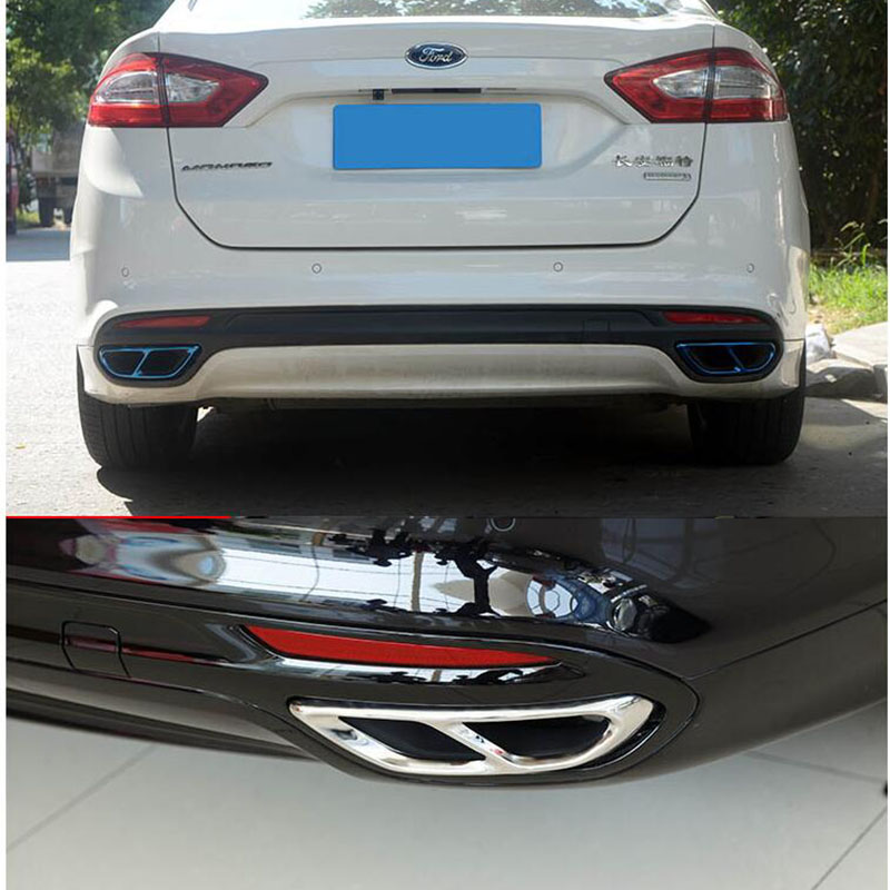 for ford mondeo fusion sedan 2013 2019 car rear dual exhaust muffler end pipe stickers cover trims accessories stainless steel