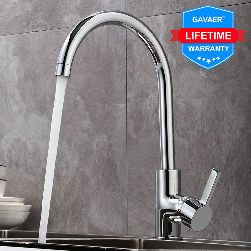 Gavaer Kitchen Faucet 360 Rotate Kitchen Sink Tap Classic Smooth Water Taps Adjust  Design Hot And Cold Dual Use And Foaming Net
