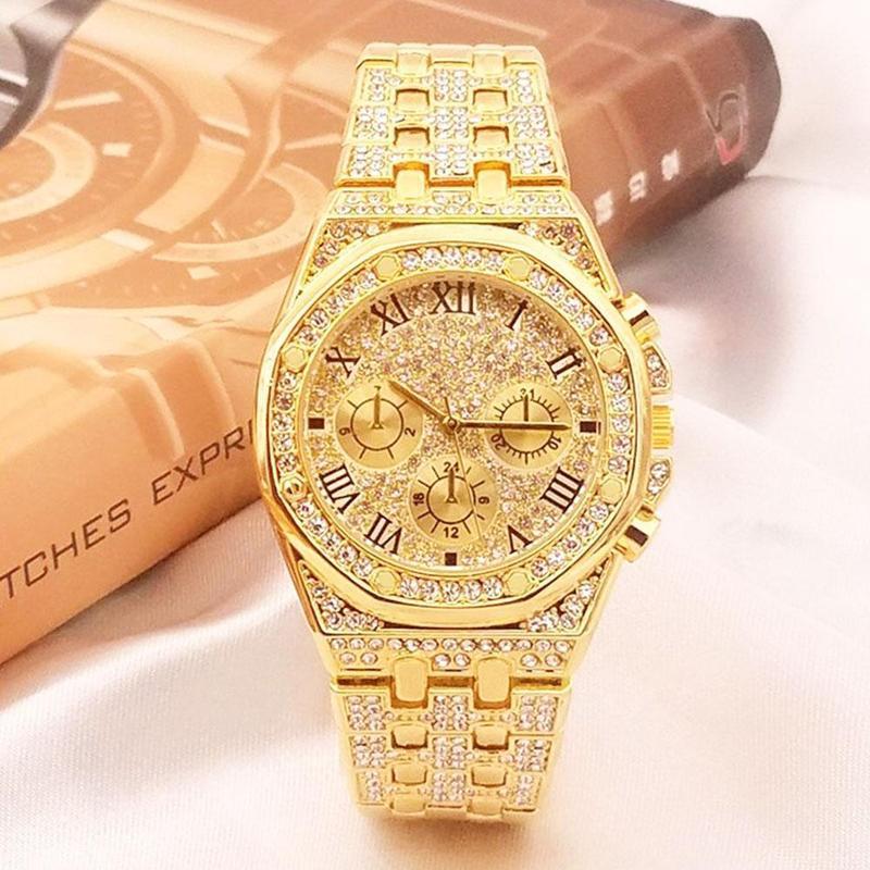 Luxo strass gypsophila relógio masculino feminino 50m à prova dwaterproof água relógios de quartzo casal grande dial hip hop ouro prata relógio de pulso presentes