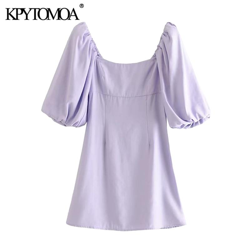 KPYTOMOA Women 2020 Chic Fashion Puff Sleeves Mini Dress Vintage Square Collar Side Zipper Female Dresses Vestidos Mujer