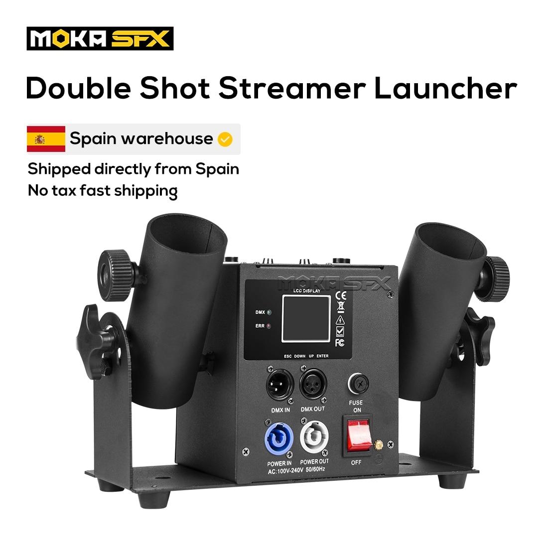 Двойной Выстрел Streamer Launcher конфетти машина DMX512 и пульт дистанционного управления свадебная машина конфетти Cannon сцена рождественское шоу