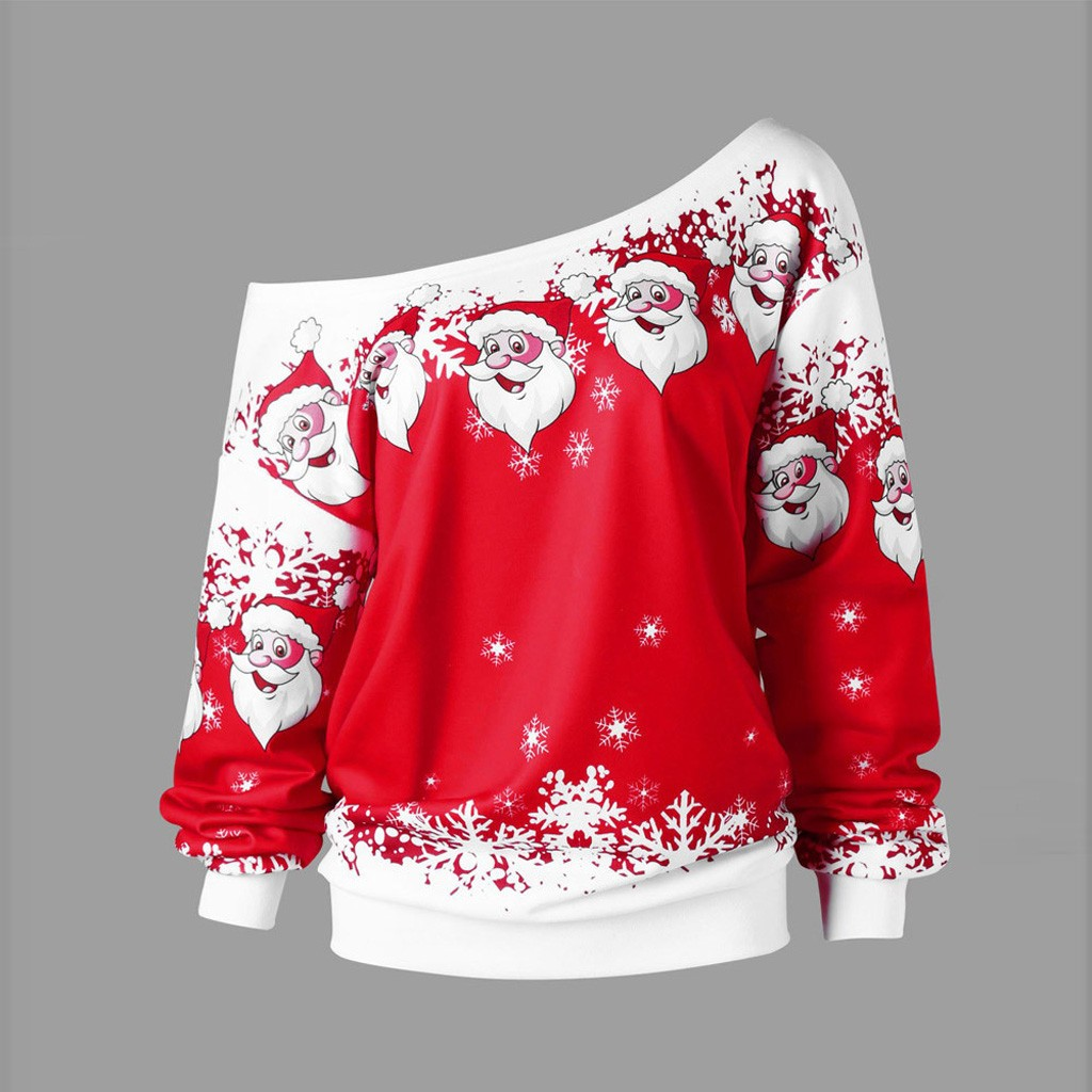Women Christmas Blouse Shirts Casual Plus Size S-5XL Women Merry Christmas Santa Claus Print Skew Collar Sweatshirt Blouses