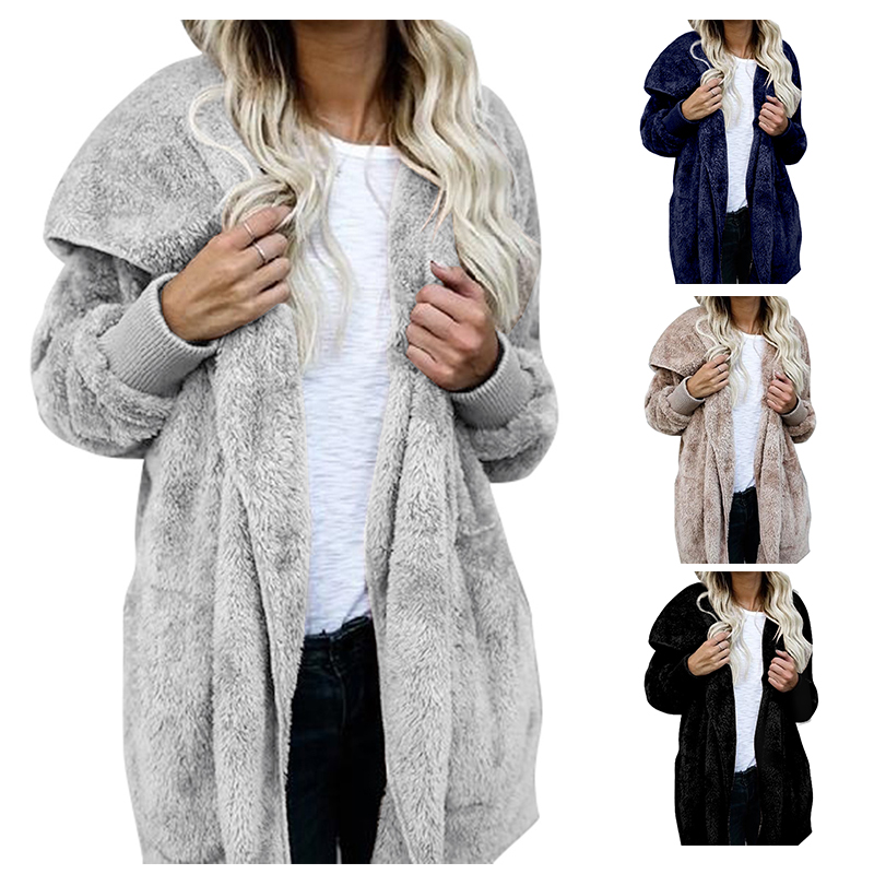 Female Faux Fur Cardigan Coat Oversize Hooded Lamb Fur Solid Cardigan Women Autumn Winter Long Sleeve Casual Loose Coverup Tops