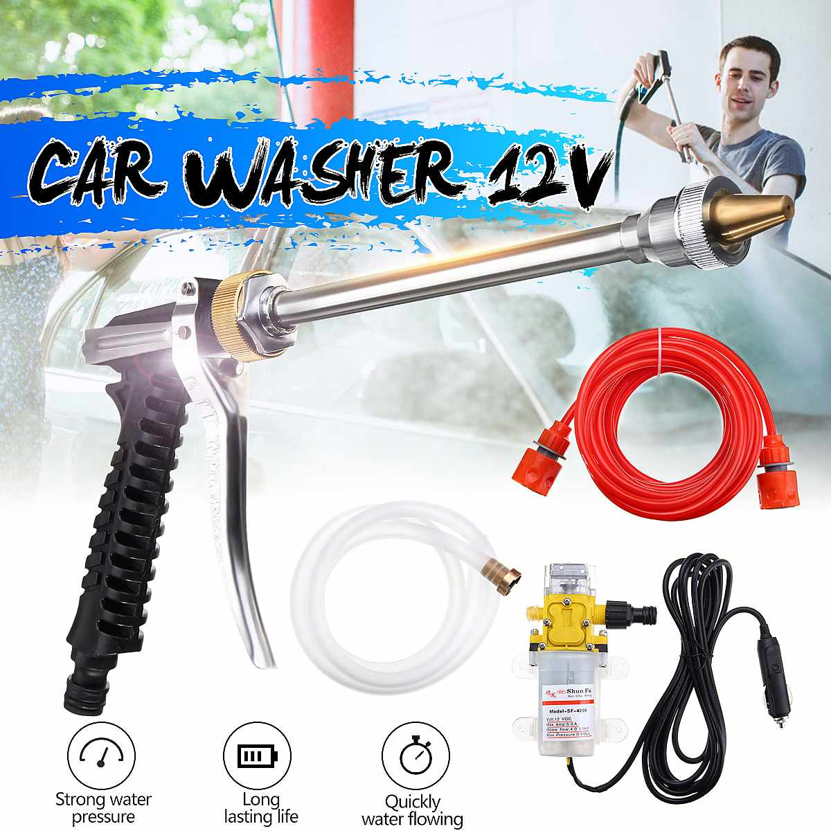 Best 100W 1Set DC 12V 160PSI High Pressure Car Electric Washer Wash Pump Set Portable Auto Washing Machine Kit With Car Charger