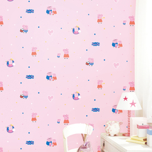 Children's room wallpaper pink blue environmentally friendly non-woven wallpaper bedroom girl male social pig cartoon piglet цена 2017