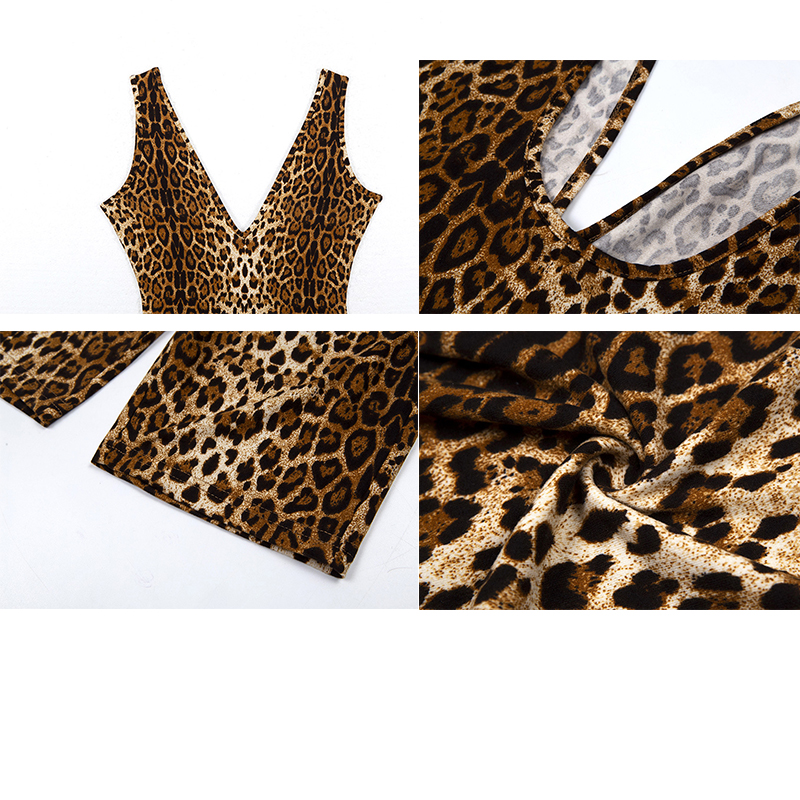 Ellolace Animal Print Sexy Playsuit Women Deep V Backless Overalls Sleeveless Streetwear Female Fashion 2019 Bodycon Rompers in Rompers from Women 39 s Clothing