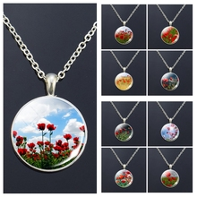 Poppy Flowers Art Pattern Necklace Fashion Silver Color Pendant Glass Cabochon Jewelry Simple Style Charm Women Gifts