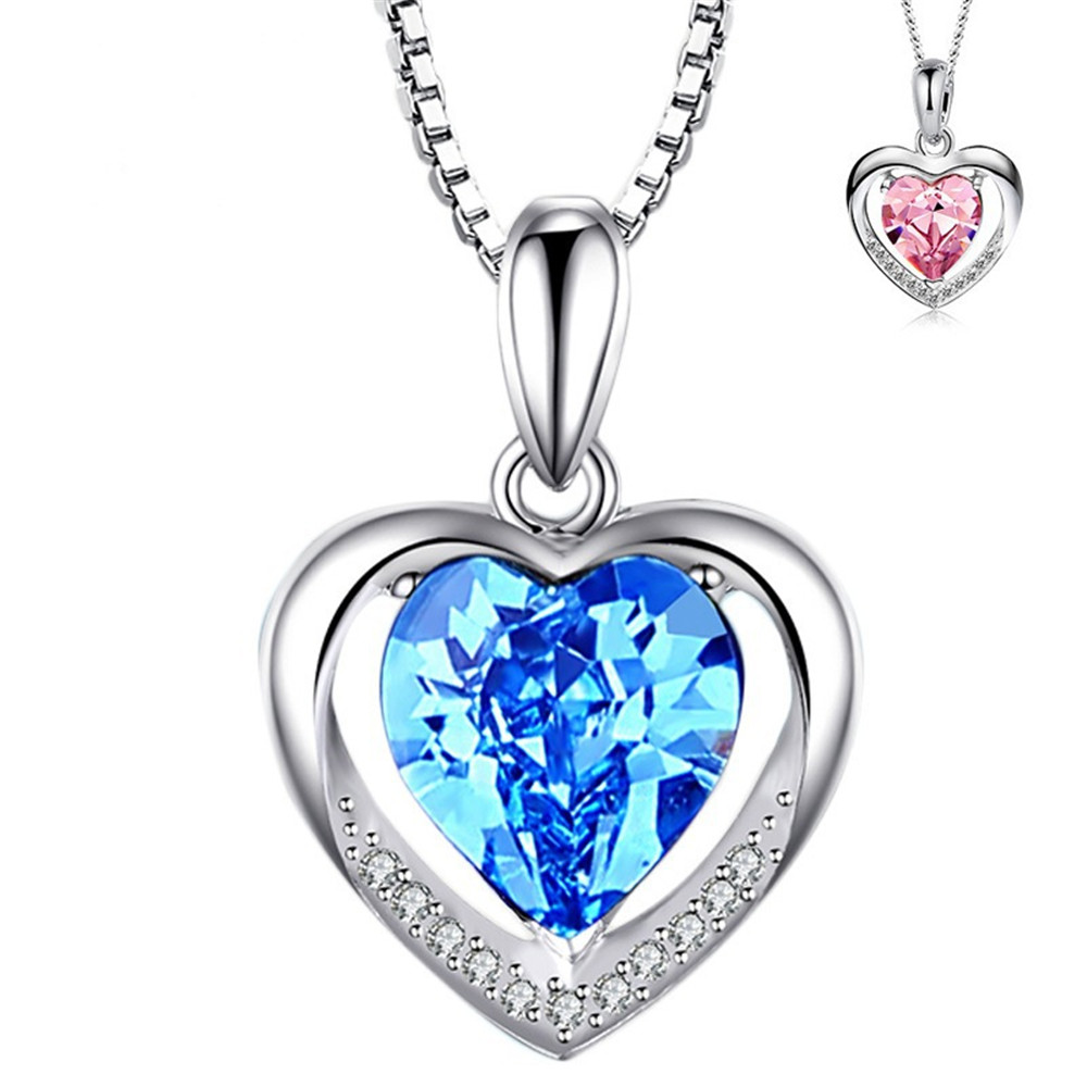 Heart Aquamarine Blue Gemstones Pink Crystal Pendant Necklaces For Women Diamonds White Gold Silver Color Choker Jewelry Bijoux