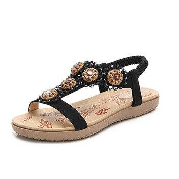 2020 Summer Bohemian Sandals Women Crystal Female Shoes Flat Beach Shoes For Ladies Sandal Casual Women Sandals X9X2079