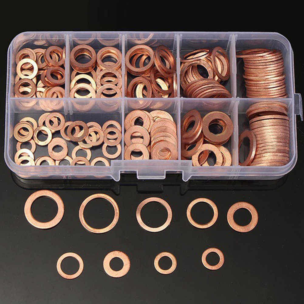 Copper Crush Washers Seal Flat Ring Hydraulic Fittings Nut And Bolt Set Home Improvement Hardware Fasteners Washers 200pcs Washers Aliexpress