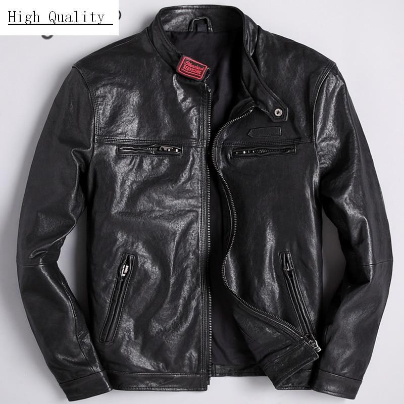 Fashion Genuine Leather Jacket Men Clothes 2020 Streetwear Mens Autumn Sheepskin Coat Casual Slim Fit Moto Jackets LW1219