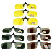 Driving Glasses Polarized Day Night Vision Clip-on Flip-up Lens Sunglasses