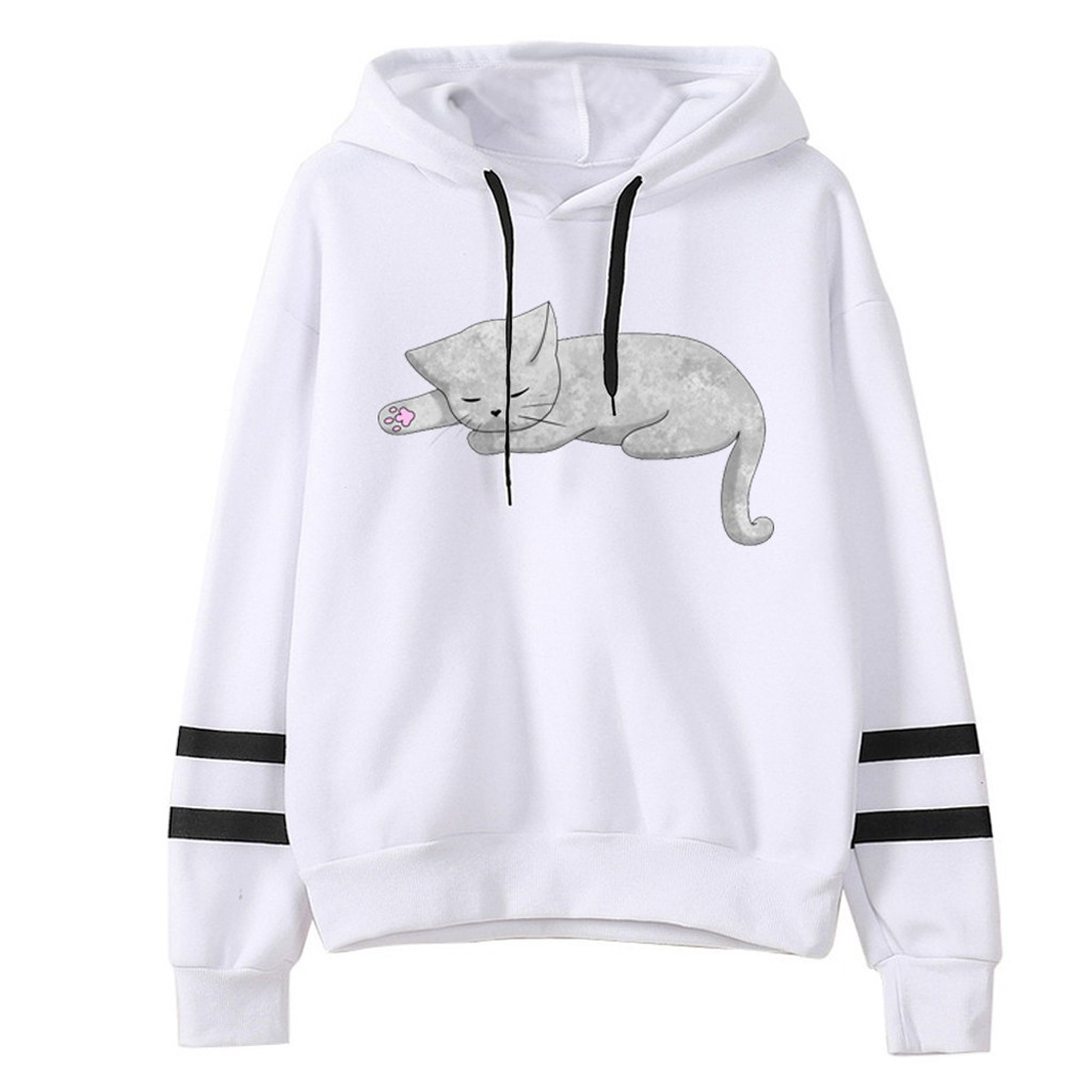 Feitong Fashion Hoodies Women Sweatshirt Casual Loose Long Sleeve Striped Cat Print Sweatshirt Tops толстовка рубашка женская