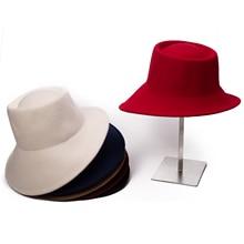 Lawliet шерсть женская шляпа с широкими полями Fedora специальная флоппи Женская фетровая наклонная Асимметричная Свадебная церковная шляпа T289