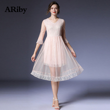ARiby Women Sweet Lace Dress 2019 Early Autumn New Fashion French Retro Mesh Stitching Solid Super Fairy V-Neck A-Line