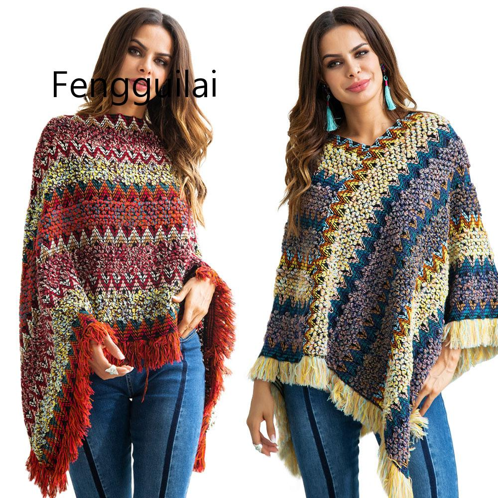 FENGGUILAI Cloak Sweater Pullovers Capes Turtleneck Batwing-Sleeve Tassel Patchwork Women