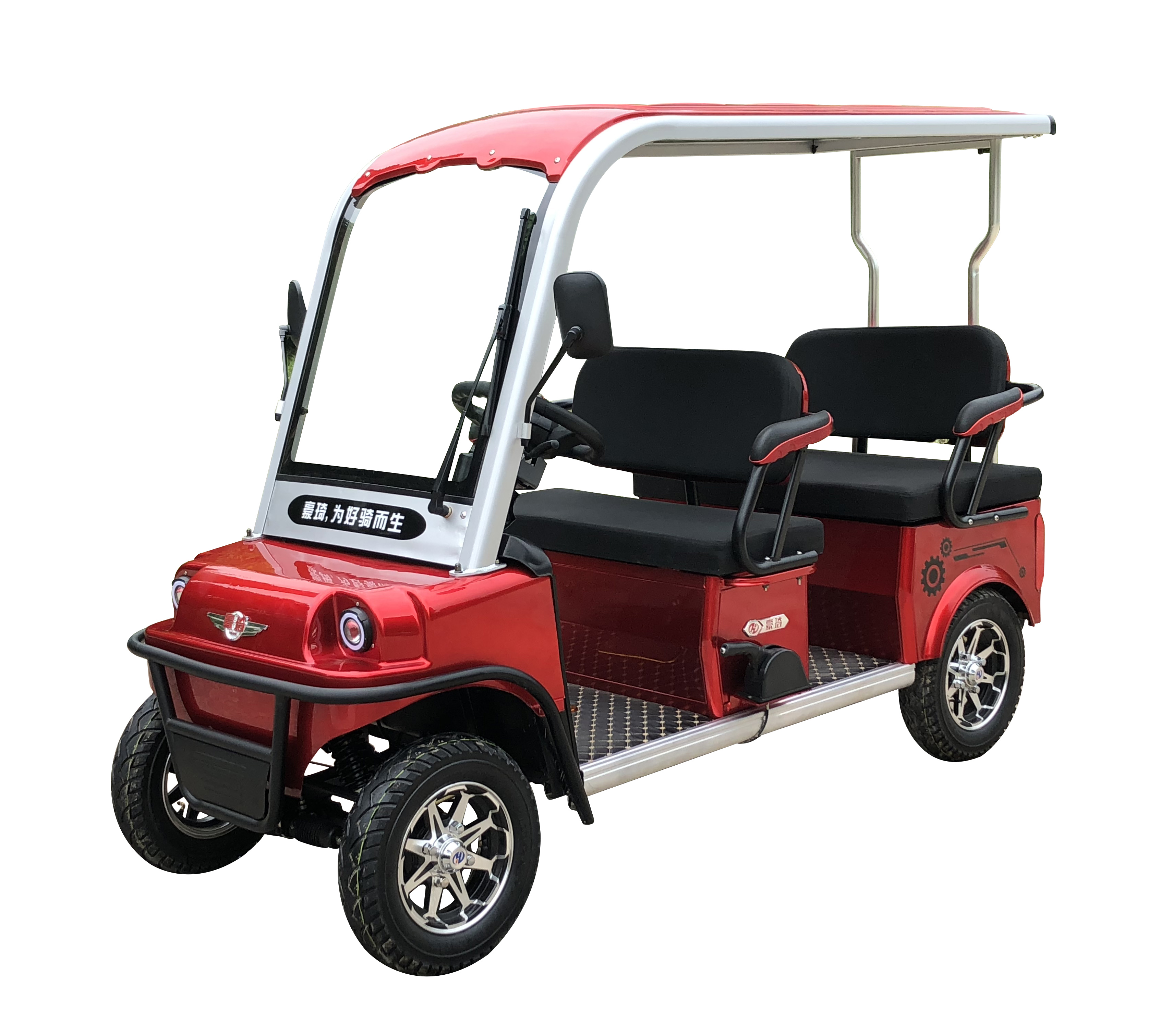 2020 New Design 4 Seater Adult Electric Golf Carts Motorized  Tandem Rickshaw Surrey Sightseeing Bicycle for Sale 1