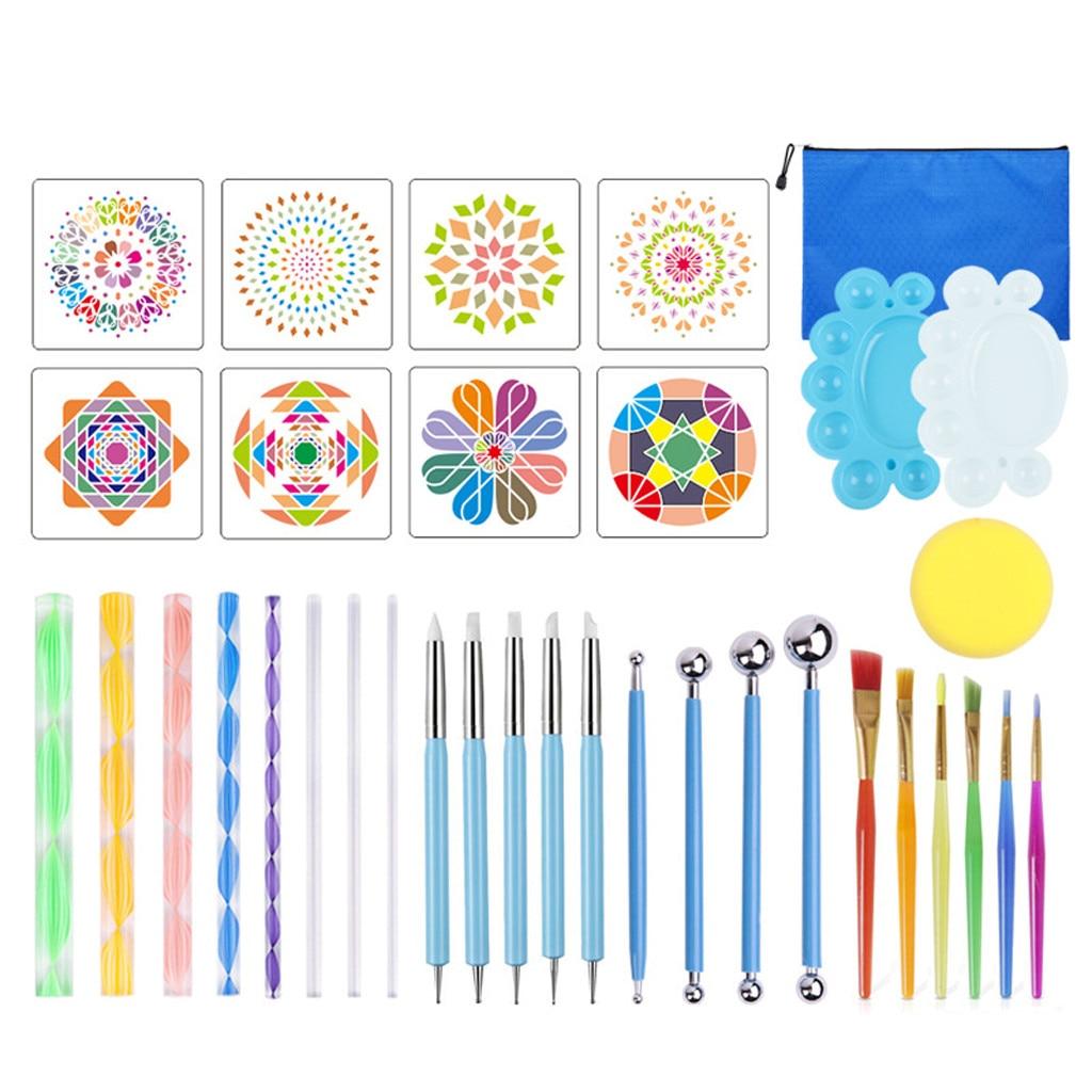 35pcs Mandala Dotting Tools Set Pen Dotting Tools Mandala Stencil Ball Stylus Paint Tray For Painting Rocks Coloring Drawing Z2