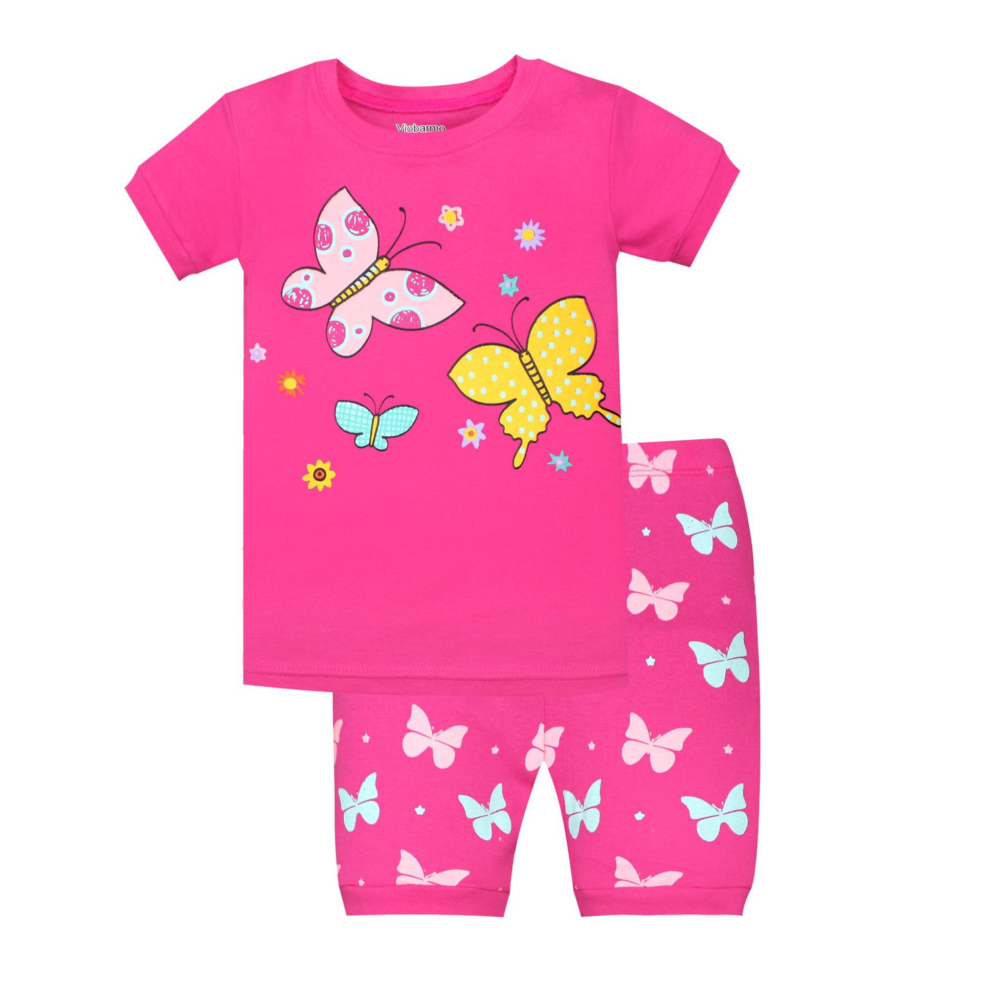Children Home Wear Short Sleeved Shorts Suit Wholesale Red Butterflies And Flowers Tops Small Butterfly Pants
