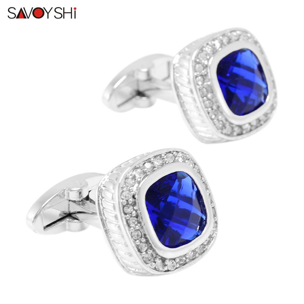 Роскошные квадратные запонки SAVOYSHI для мужчин, французская рубашка, высококачественные запонки с синими кристаллами, бриллианты, подарок дл...