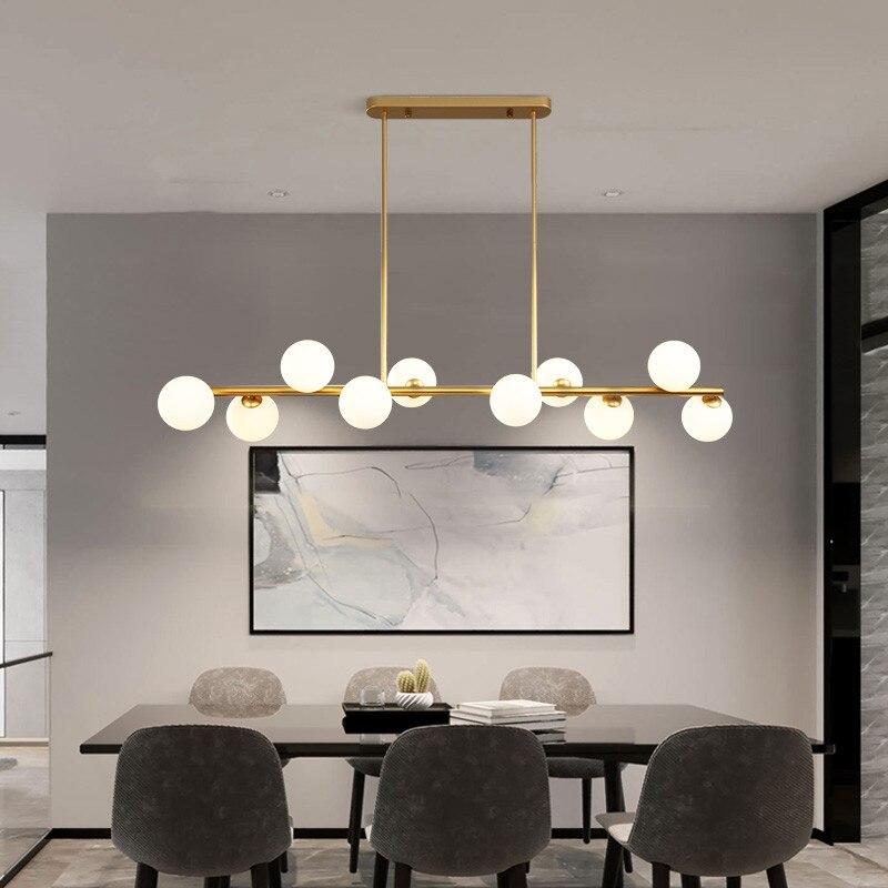 Sala de jantar lustre teto suspensão horizontal bolas vidro lustres cozinha pendurado lâmpada escritório luzes da recepção