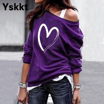 Yskkt Women's Pullover Sweatshirt Heart Printed Long Sleeve One Shoulder Tops Autumn Winter Sweat Shirts Woman Casual Top 5