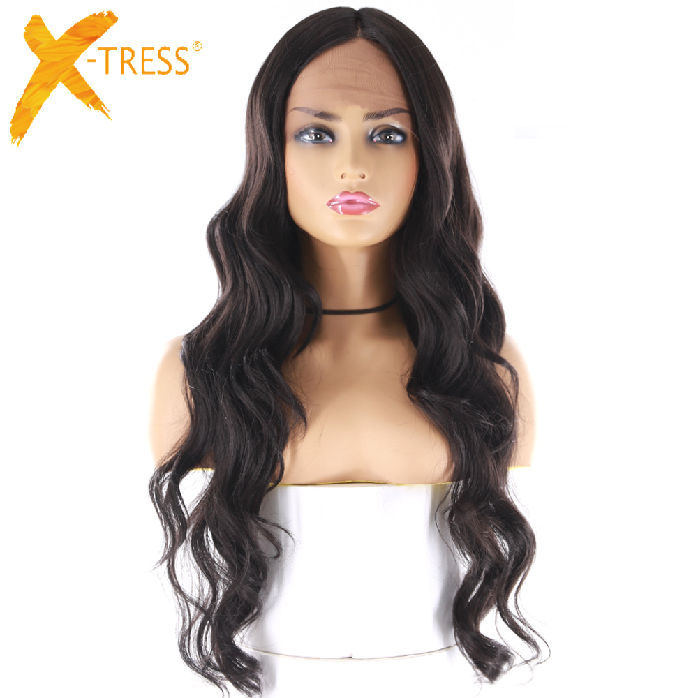 Swiss Lace Front Synthetic Hair Wigs Natural Black Color Heat Resistant Fiber Hairpiece X-TRESS Long Wavy Lace Wig Middle Part