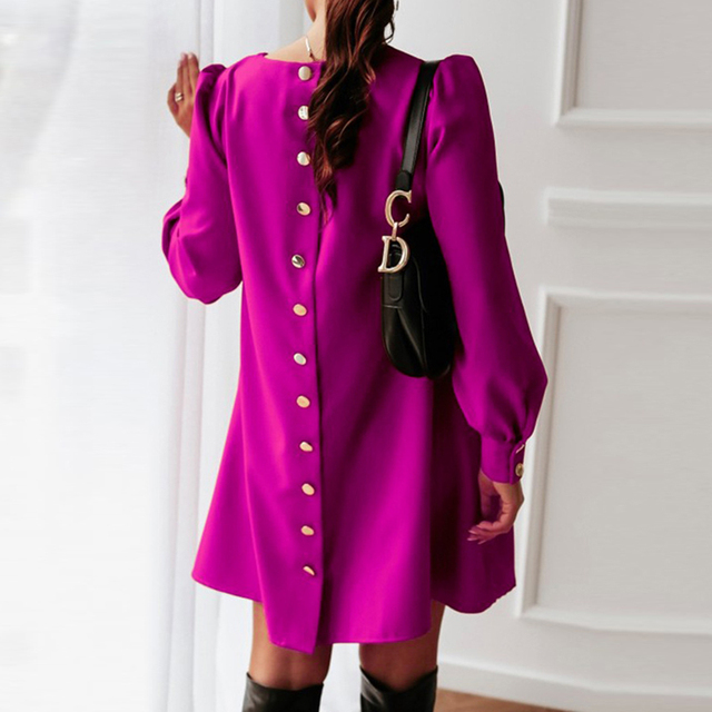 Women Long Sleeve Single-breasted Mini Dress Spring Autumn O-neck Metal Buttons Party Dress Elegant Solid Plus Size A-Line Dress 6