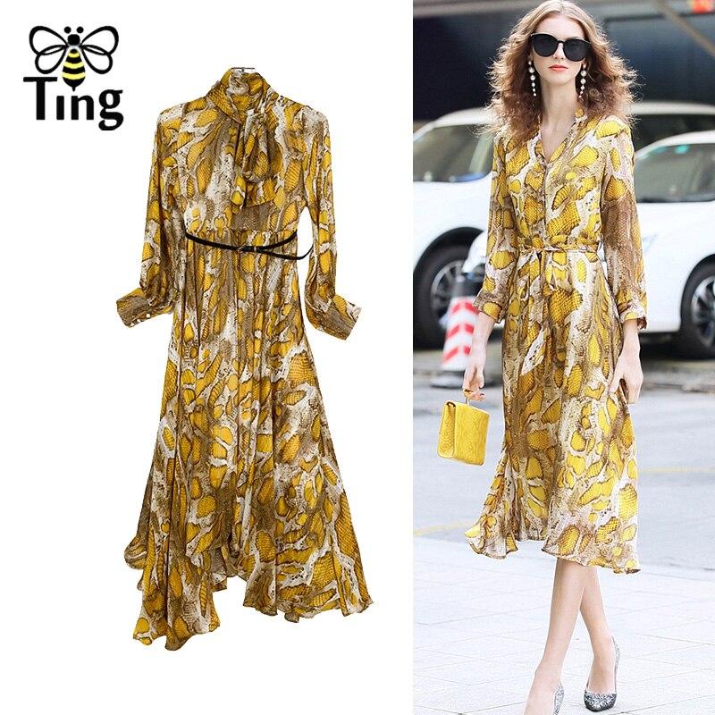 Tingfly 2020 designer leopardo serpentina pring vestidos de festa vintage senhora elegante assimétrica hem midi vestido casual plus size 3xl