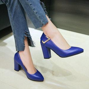 Image 4 - ZawsThia cheap stock clearance patent PU leather woman block high heels stiletto office lady pumps women shoes big size 41 43 44