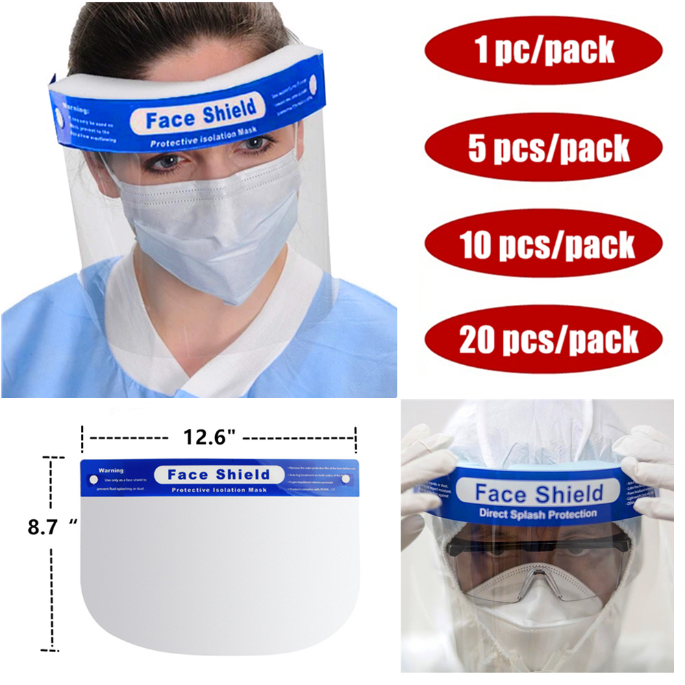 Face Shield Mask Full Face Transparent Protective Mask Anti-Splash Anti-fog Full Face Shield Safety Mask Protective Isolation