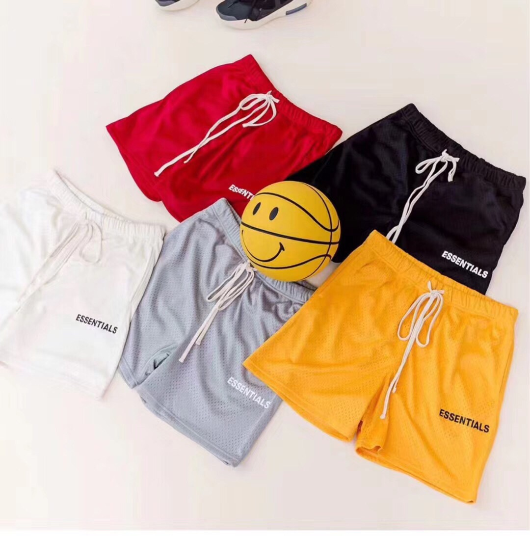 2019 New Collection Fog ESSENTIALS Logo Printed Women Men Mesh Shorts Hiphop Streetwear Men Cotton Mesh Casual Shorts Summer